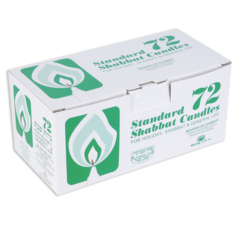 Holy Land Gifts, Shabbat Candles, White, 4 x 3/4 inches, Set of 72
