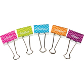 Teacher Created Resources, Chevron Days of the Week, Large Binder Clips, 2 inch, Assorted Colors, 5 Count