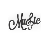 Music Word with Treble Clef Metal Wall Decor, Black, 13 1/2 x 24 1/4 inches