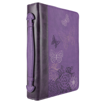 Christian Art, Butterflies Bible Cover, Leather-like, Purple, Multiple Sizes Available