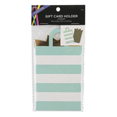 Brother Sister Design Studio, Striped Bag Gift Card Holder, Mint & White, 3 x 5 1/4 inches