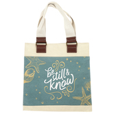 Christian Art Gifts, Be Still and Know Tote Bag, Cotton Canvas, Natural, 14 1/4 x 14 x 4 inches