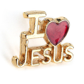 H.J. Sherman, I Love Jesus Lapel Pin, Gold Plated, 5/8 x 1/2 inches