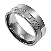 Spirit & Truth, 1 Timothy 6:11, Man of God, Men's Ring, Stainless Steel, Sizes 8-12