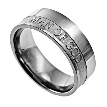 Spirit & Truth, 1 Timothy 6:11, Man of God, Men's Ring, Stainless Steel, Sizes 8-12