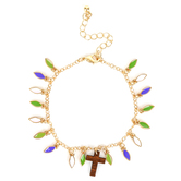 Faith in Bloom, Wood Cross and Colorful Leaves Charm Bracelet, Zinc Alloy and Wood, Gold