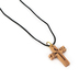 Logos Trading Post, Jesus Cross Pendant Necklace, Olive Wood, Black Cord, 1 x 1 3/8 inches