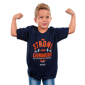 Kerusso, Joshua 1:9 Be Strong and Courageous, Kid's Short Sleeve T-shirt, Navy, YS-YL