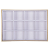 Gadgets And Gizmos, Small Rectangle Jewelry Display Tray, Wood, White and Gold, 13 1/2 x 9 1/2 x 1 3/16 inches