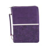 Christian Art, Floral Bible Cover, LuxLeather, Purple, Multiple Sizes Available