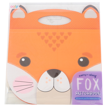 OOLY, Carry Along Sketchbook, Die-Cut Fox with Handle, 60 Pages, Grade PreK-3