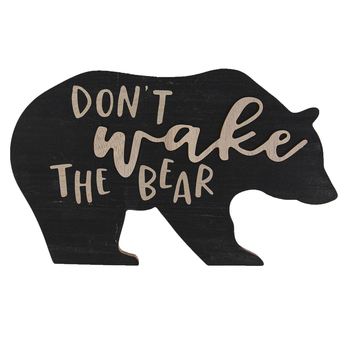 Brother Sister Design Studio, Dont Wake The Bear Wall Plaque, Black & Brown, 8 1/2 x 13 1/2 inches