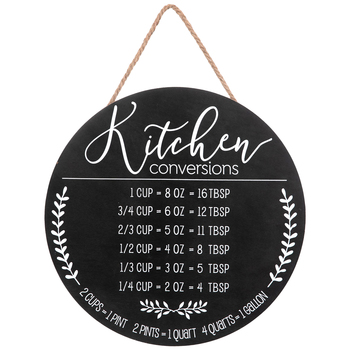 Round Kitchen Conversions Wall Decor, Wood, Black, 15 1/2 x 3/8 inches