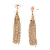 His Truly, Pink Crystal with Tassel Dangle Earrings, Zinc Alloy, Brushed Gold and Pink