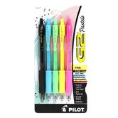 Pilot, G2 Retractable Fine Point Gel Pens, Pastel, 1 Each of 5 Colors