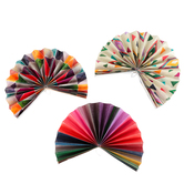 Color Me Brilliant Collection, Double-Sided Accent Paper Fans, 6 x 6 Inches, 3 Designs, Set of 9