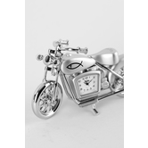 Lifelines, Motorcycle Analog Desk Clock, Zinc Alloy, Silver, 4 x 2 1/2 inches