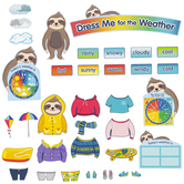 Carson Dellosa, One World Sloth Dress Me for the Weather Science Bulletin Board Set, 54 Pieces