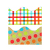 TooCute Collection, Scalloped Double-Sided Border Trim, 38 Feet, Gingham and Multi Dots