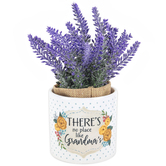 Carson Home Accents, There's No Place Like Grandma's Planter with Flowers, Ceramic, 7 1/2 x 3 1/2 inches