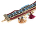 Radiant Sol, Gold and Burgundy Multi-Strand Charm Bracelet, Zinc Alloy and Woven Cotton