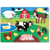 Melissa & Doug, Farm Animal Peg Wooden Puzzle, Ages 2 to 4 Years Old, 8 Pieces