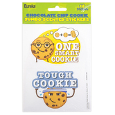 Eureka, Chocolate Chip Cookie Scented Jumbo Stickers, 3 Inches, Pack of 12