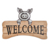 Welcome Pig Wall Plaque, MDF and Glavanized Metal, 19 1/2 x 2 x 13 3/4 inches