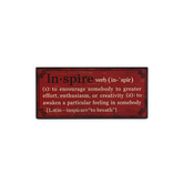 Definition of Inspire Plaque, Red, 4 1/2 x 10 inches