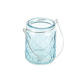 Blue Tint Glass Jar Candle Holder with Handle, 3 x 4 inches