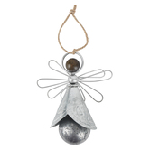 Angel Bell Ornament, Metal, Silver-tone, 4 3/4 x 3 3/4 inches