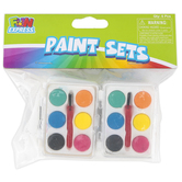 Fun Express, Mini Watercolor Paint Sets, Assorted Colors, 2 1/2 x 1 7/8 inches, Pack of 6