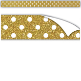 Teacher Created Resources, Clingy Thingies Gold with White Polka Dots Strips, 10 x 0.75 Inches, Set of 18