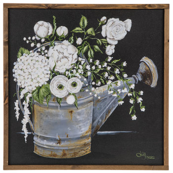 Designs Direct Creative Group, Floral Watering Can Framed Art, Wood Frame, 24 x 24 inches