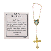 H.J. Sherman, Baby's First Rosary-Girl, Gold Metal, Pink Beads, 2 3/4 x 3 inches