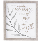 Philippians 4:13 I Can Do All Things Framed Wall Decor, MDF, Brown and Grey, 14 x 12 x 1 3/16 inches
