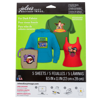 Jolees, Easy Image Transfer Sheets for Dark Fabrics, DIY Iron On, 8 1/2 x 11 Inches, 5 Sheets