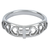Spirit & Truth, Galatians 2:20, Christ Lives In Me Heart Beat, Women's Ring, Stainless Steel, Sizes 5-9