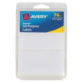 Avery, Permanent All-Purpose Labels, 1.5 x 2.75 Inches, White, Pack of 76