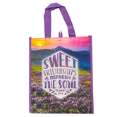 Renewing Faith, Proverbs 27:9 Sweet Friendship Tote Bag, Purple, 12 x 10 x 4 inches