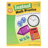 Teacher Created Resources, Instant Math Practice Workbook, Reproducible Paperback, 144 Pages, Grade 3