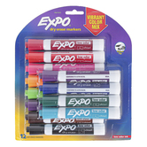 Expo, Low-Odor Vibrant Colors Dry Erase Markers, Chisel Tip, Assorted Colors, 12-Pack