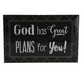 Dexsa, God Has Great Plans For You Tabletop Plaque, Glass, 6 x 4 inches