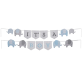 Brother Sister Design Studio, It's A Boy Elephant Banner, Blue & Grey, 90 5/8 Inches