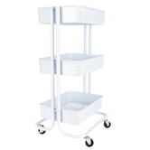 Renewing Minds, 3-Tier Mobile Organizing Cart, Metal, White, 17 x 14 x 31 Inches