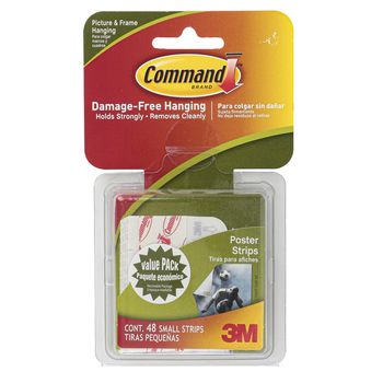 Command, Poster Hanging Strips, Small, White, 48 Pieces