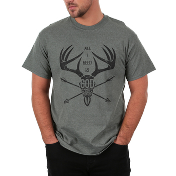 Red Letter 9, All I Need Is God Family and Hunting, Men's Short Sleeve T-Shirt, Military Green Heather, S-3XL