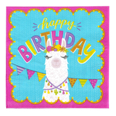Llama Party Happy Birthday Paper Napkins, Large 6.50-inch Square, Southwest Colors, 25 Count