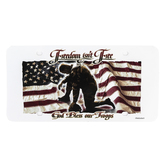 Dicksons, Freedom Isn't Free God Bless Our Troops Decorative License Plate, Plastic, White, 6 x 12 inches