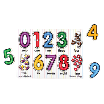 Melissa & Doug, See-Inside Numbers Peg Wooden Puzzle, Ages 2 to 4 Years Old, 10 Pieces